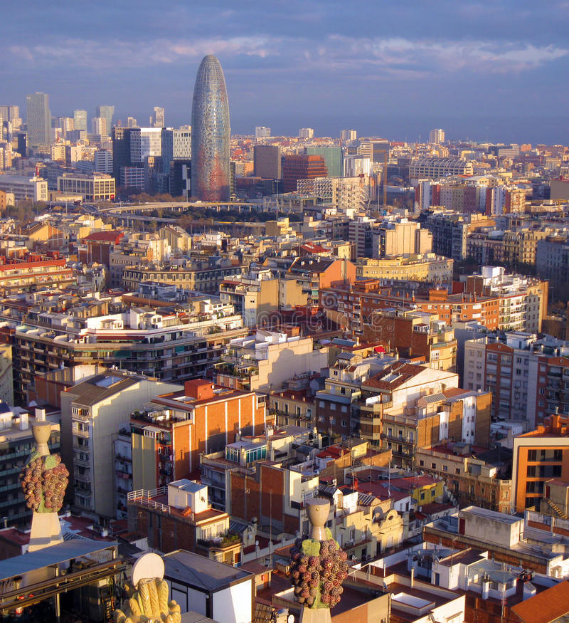 Barcelona. Aerial image panorama of Barcelona, Spain stock image