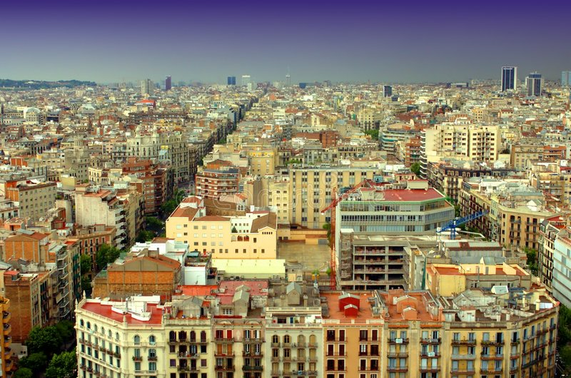 Barcelona. As viewed from SF royalty free stock photography