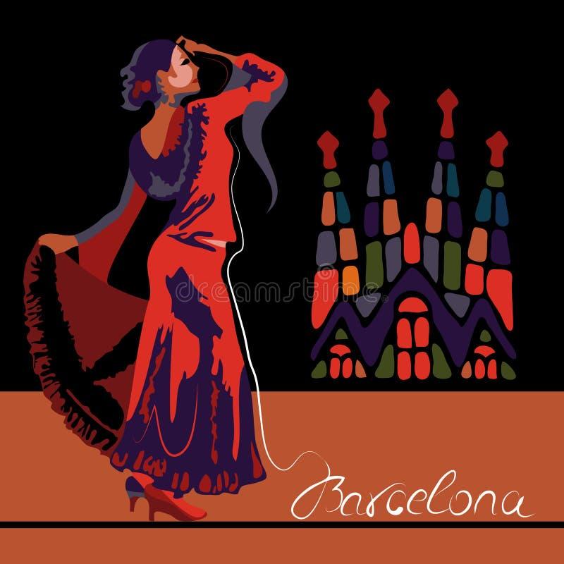 Barcelona vektor illustrationer