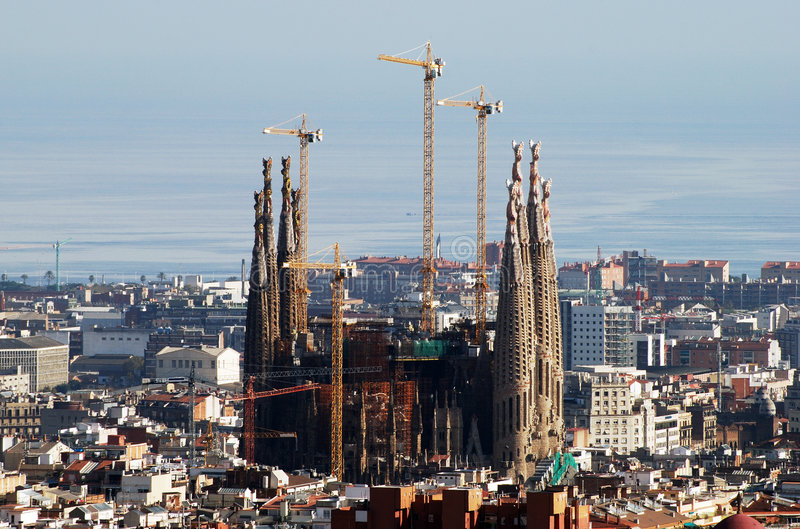 Barcelona. The view of Barcelona city with famous Sacred Family unfinished church in a centre (Spain royalty free stock photo