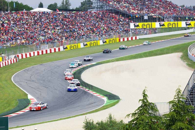 BARCELONA 9 MEI: Auto in actie tijdens Porsche Menigte stock fotografie