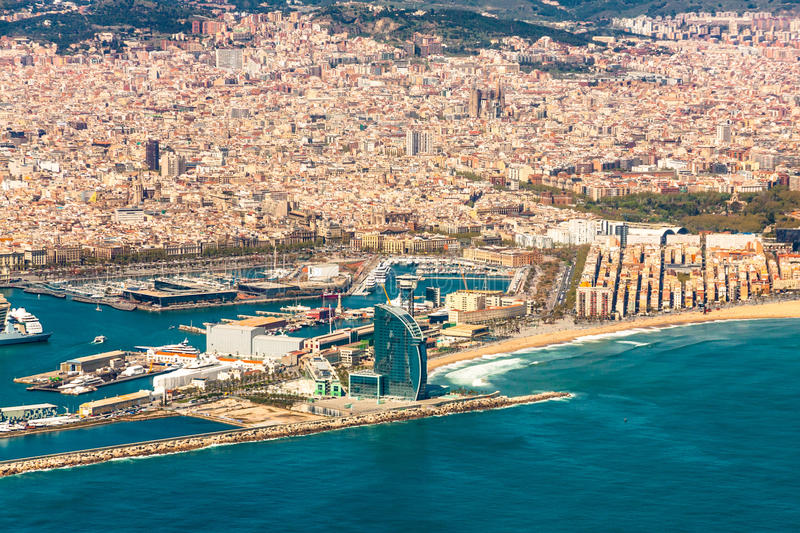 Barcelona Aerial View. A postcard aerial view of Barcelona City royalty free stock photo