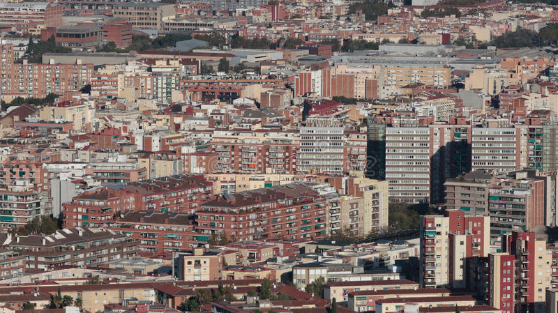 Barcelona architectural density. The city of Barcelona, dense residentials and office as commercial buildings near Rubi and Cerdanyola, view from nearby hill of stock photography