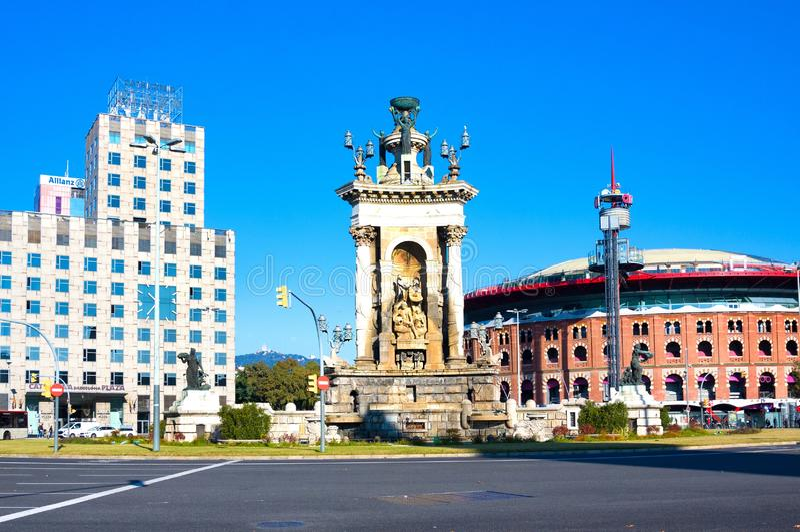 Barcelona Arena Arenas de Barcelona and fountain in center of Plaza de Espana, Spain stock photos