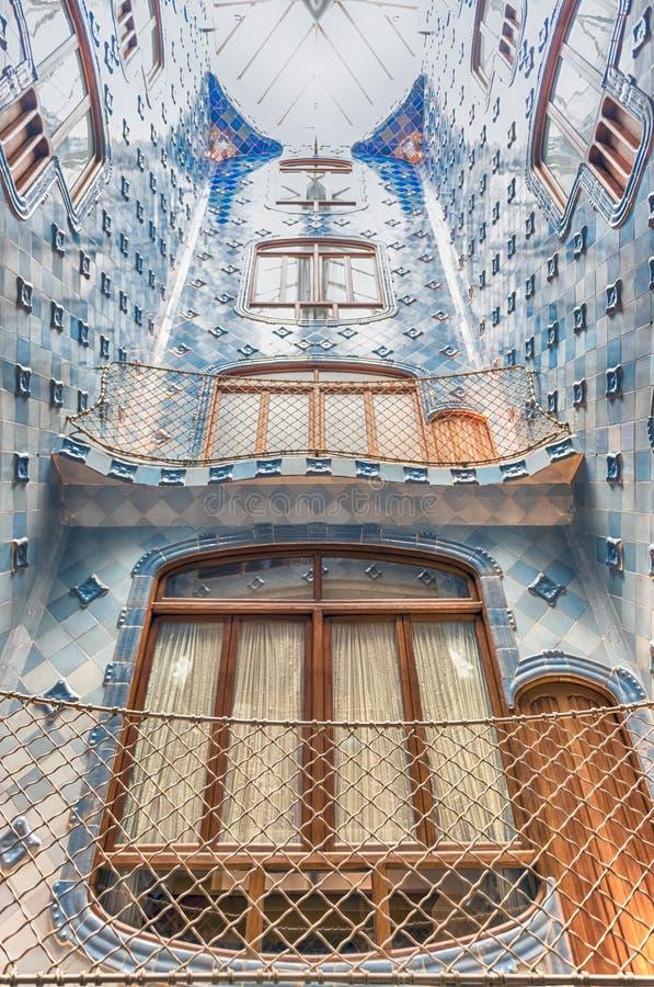 Iconic blue lightwell in Casa Batllo, Barcelona, Catalonia, Spain stock photography