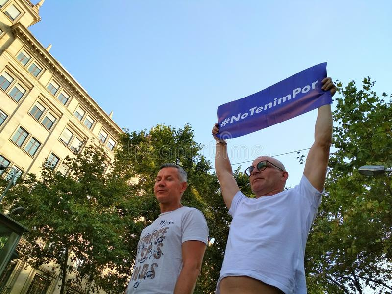 Barcelona, 26 august 2017: march day against terrorism stock image