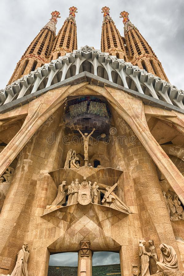 Passion Facade of the Sagrada Familia, Barcelona, Catalonia, Spa. BARCELONA - AUGUST 9: The Passion Facade of the Sagrada Familia, the most iconic landmark royalty free stock image