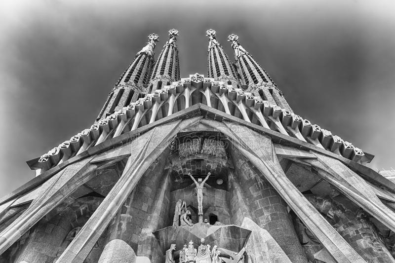 Passion Facade of the Sagrada Familia, Barcelona, Catalonia, Spa. BARCELONA - AUGUST 9: The Passion Facade of the Sagrada Familia, the most iconic landmark royalty free stock photo