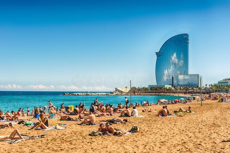 A sunny day on the Barceloneta beach, Barcelona, Catalonia, Spain stock photography
