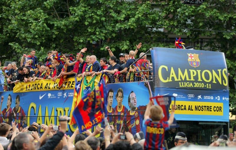 barcelona autobusowi fc gracze fotografia royalty free