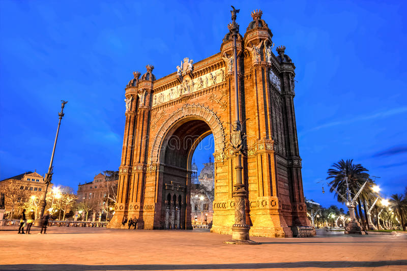 Barcelona - båge av Triumph arkivbild