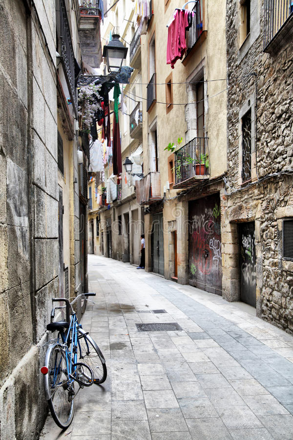 Barcelona Barri Gotic. Narrow street at Barcelona Barri Gotic (Gothic Quarter), Spain royalty free stock image