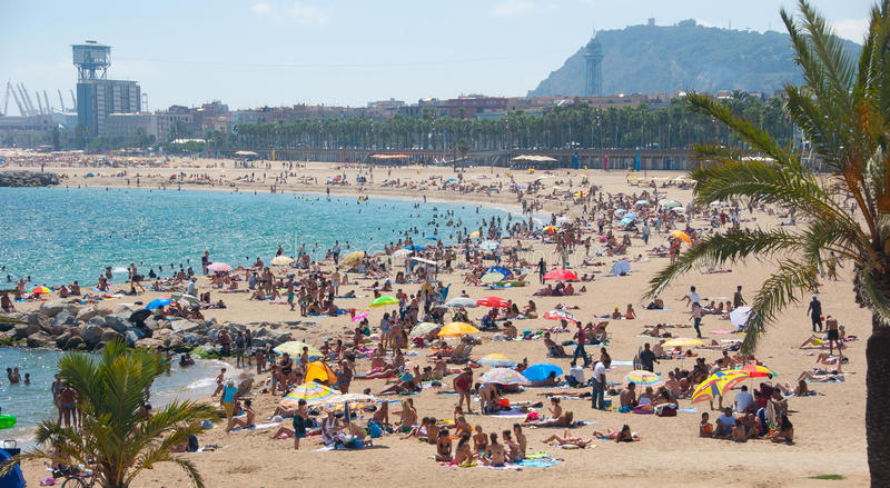 Download Barcelona beach editorial stock photo. Image of shore - 18256588