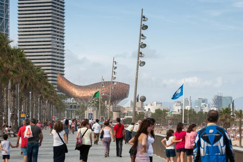 Barcelona beach promenade stock photography