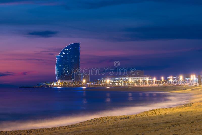 Barcelona Beach in summer night along seaside in Barcelona, Spain. Mediterranean Sea in Spain.  stock image
