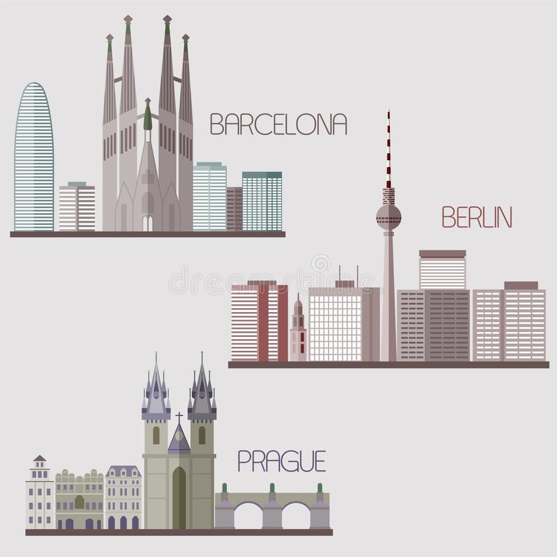 European skylines. Vector illustration collection. Barcelona, Berlin, Prague skylines isolated on the grey background. Vector illustration stock illustration