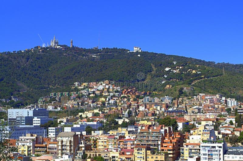 Barcelona-Bezirk und Tibidabo, Spanien lizenzfreie stockfotografie