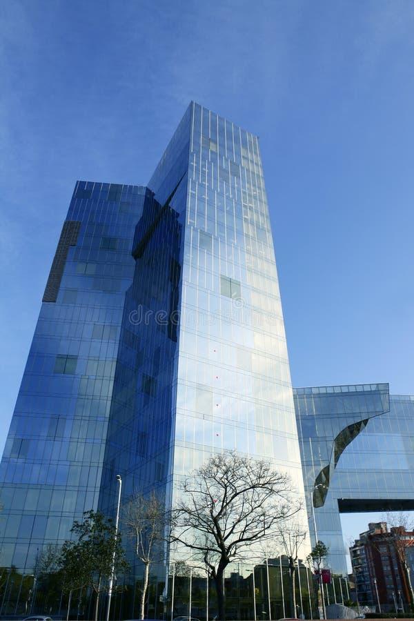 Barcelona blue buidings near Villa Olimpica royalty free stock images