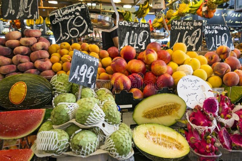 Barcelona Boqueria fruits royalty free stock photo
