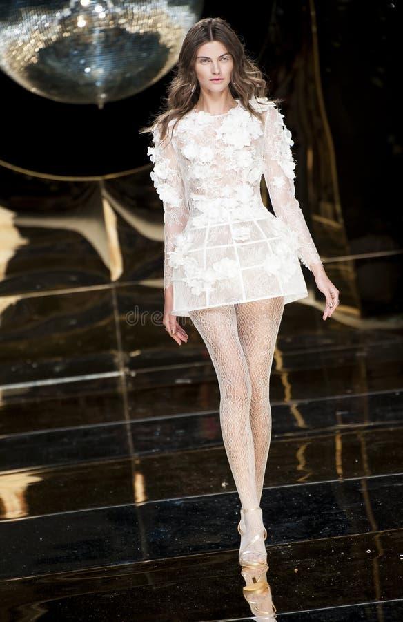 BARCELONA BRIDAL FASHION WEEK - YOLAN CRIS CATWALK stock photo