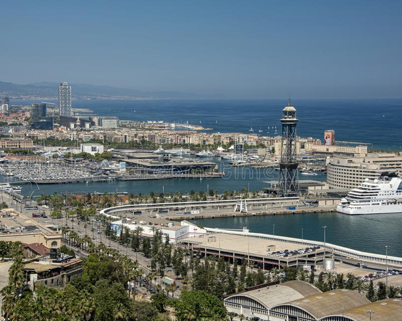 Barcelona cable car royalty free stock images