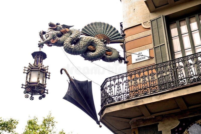 Barcelona Casa Bruno Cuadros żelaza smok fotografia royalty free