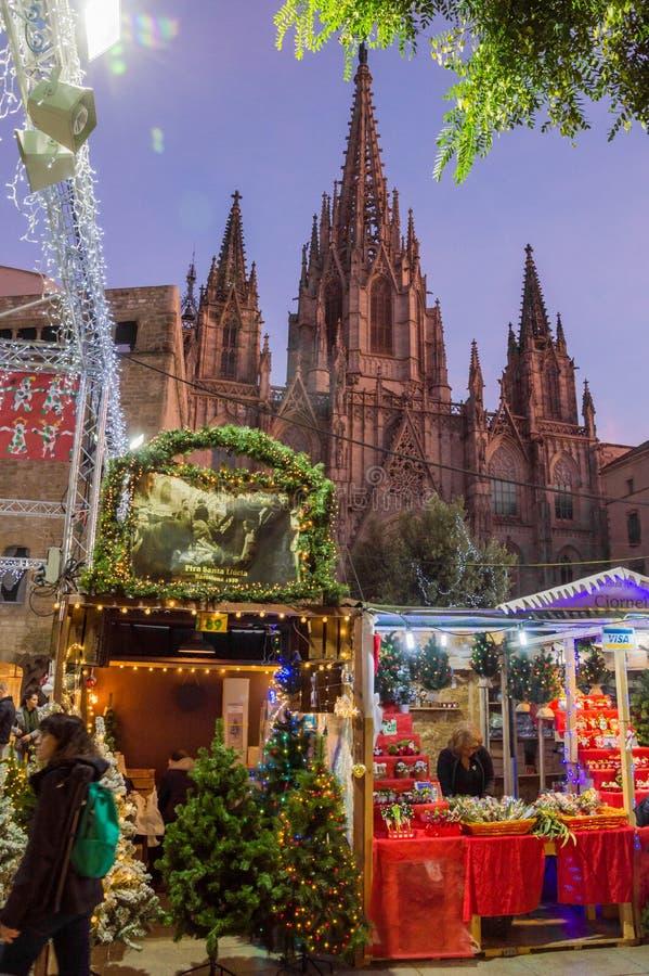 Barcelona Catalonia, Hiszpania, Grudzień,/- 12 2018: Santa Lucia bożych narodzeń rynek zdjęcie stock