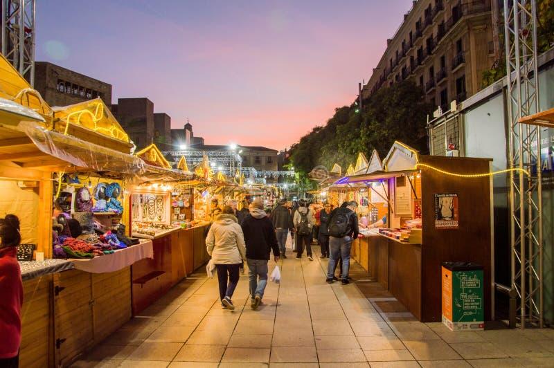 Barcelona Catalonia, Hiszpania, Grudzień,/- 12 2018: Santa Lucia bożych narodzeń rynek zdjęcia royalty free