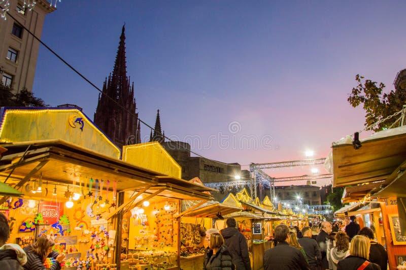 Barcelona Catalonia, Hiszpania, Grudzień,/- 12 2018: Santa Lucia bożych narodzeń rynek fotografia stock
