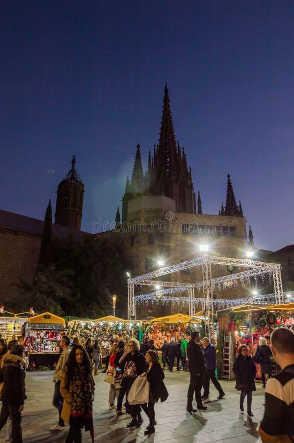 Barcelona Catalonia, Hiszpania, Grudzień,/- 12 2018: Santa Lucia bożych narodzeń rynek zdjęcia stock