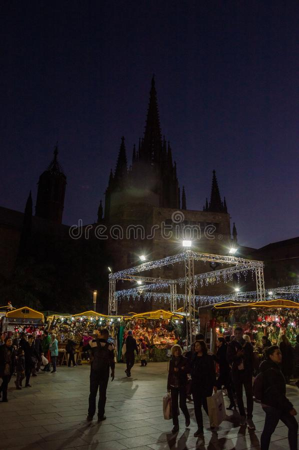 Barcelona Catalonia, Hiszpania, Grudzień,/- 12 2018: Santa Lucia bożych narodzeń rynek zdjęcie royalty free