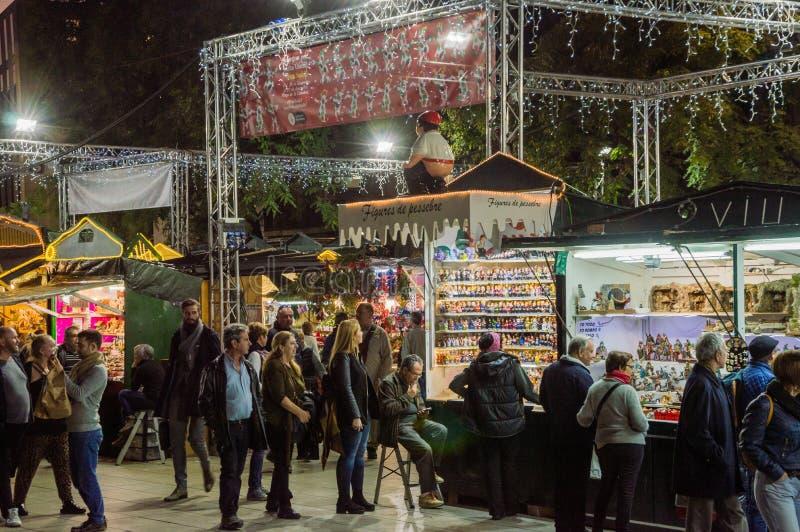 Barcelona Catalonia, Hiszpania, Grudzień,/- 12 2018: Santa Lucia bożych narodzeń rynek fotografia royalty free