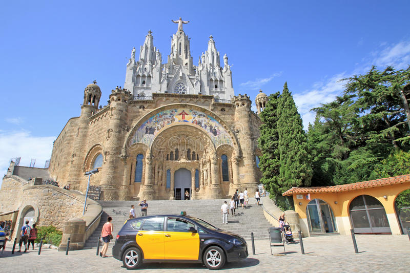 Barcelona, Catalonia, Spain - August 29, 2012: Expiatory Church of the Sacred Heart of Jesus on Tibidabo royalty free stock images