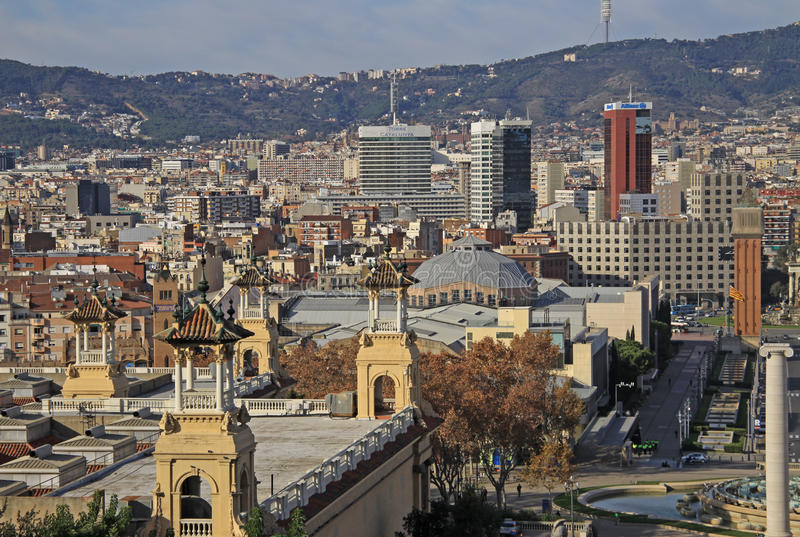 City view from National Museum of Art MNAC in Barcelona, Catalonia, Spain. BARCELONA, CATALONIA, SPAIN - DECEMBER 13, 2011: City view from National Museum of Art royalty free stock images