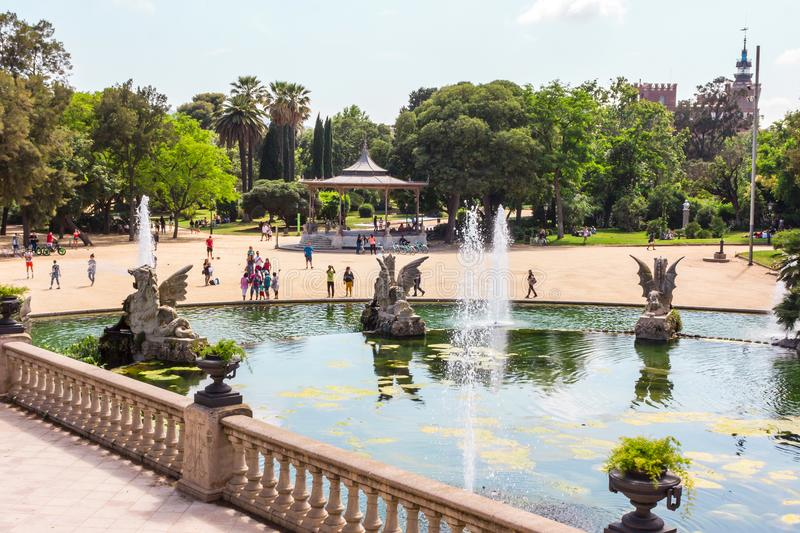 Park de La Ciutadella. Barcelona, Catalonia, Spain. 05/30/2018. Fountain in park De la Ciutadella stock image