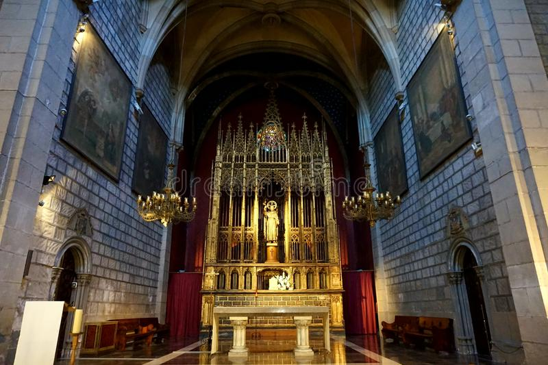 Interior of one of the churches in Barcelona. Barcelona, Catalonia / Spain - 07 02 2018.Interior of one of the churches in Barcelona stock image