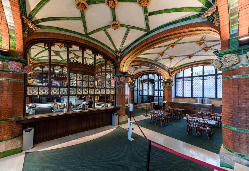 Cafe interior, Palace of Catalan Music, Barcelona, Spain royalty free stock photos