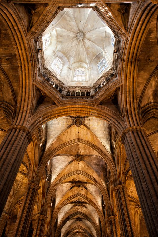 Gothic Vaults in Barcelona Cathedral Interior stock photo