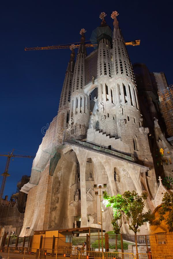 Passion Facade of the Sagrada Familia at Night royalty free stock photos