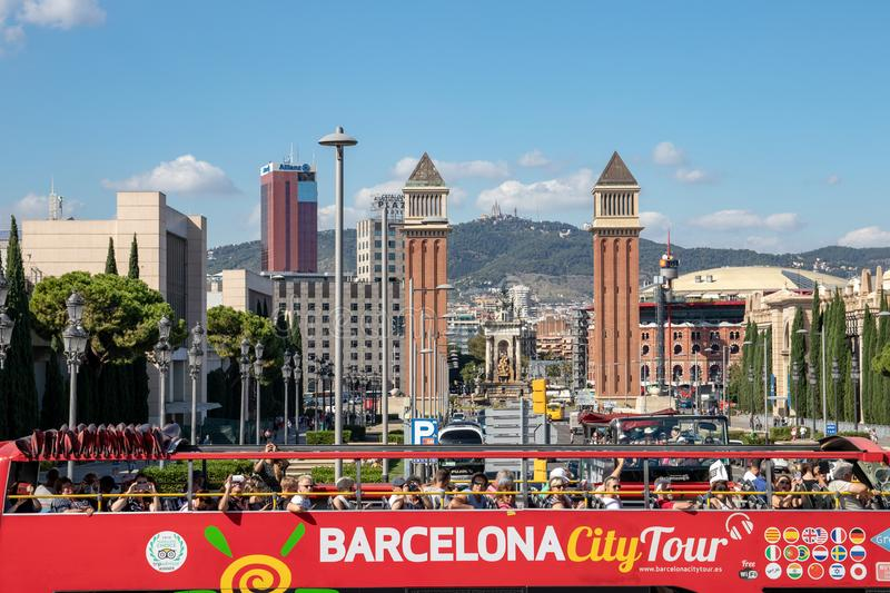 BARCELONA, Catalonia, Spain, Oct 04, 2019. View from the National Museum in Barcelona on a passing City Tour bus to the Venetian stock photo