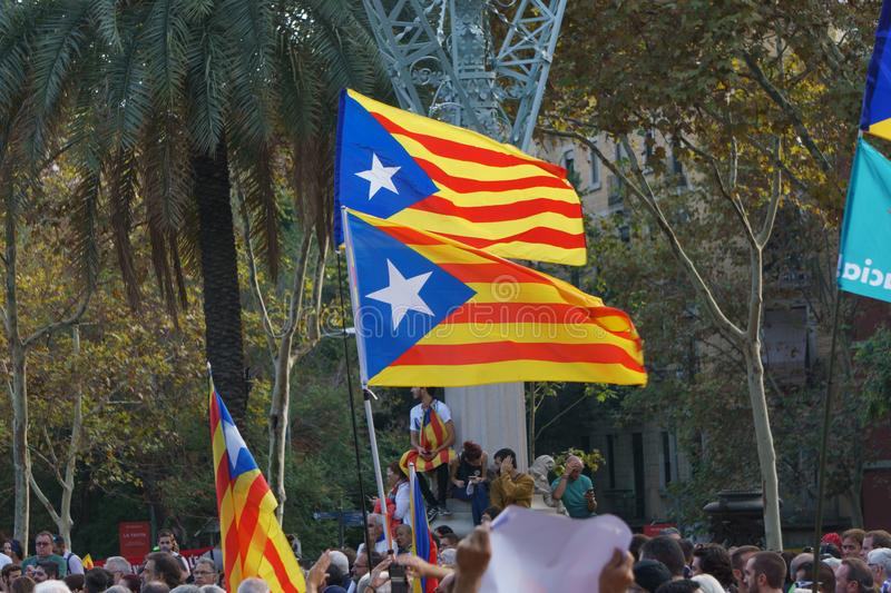 Barcelona, Catalonia, Spain, October 10, 2017: flags and people on rally support royalty free stock photography