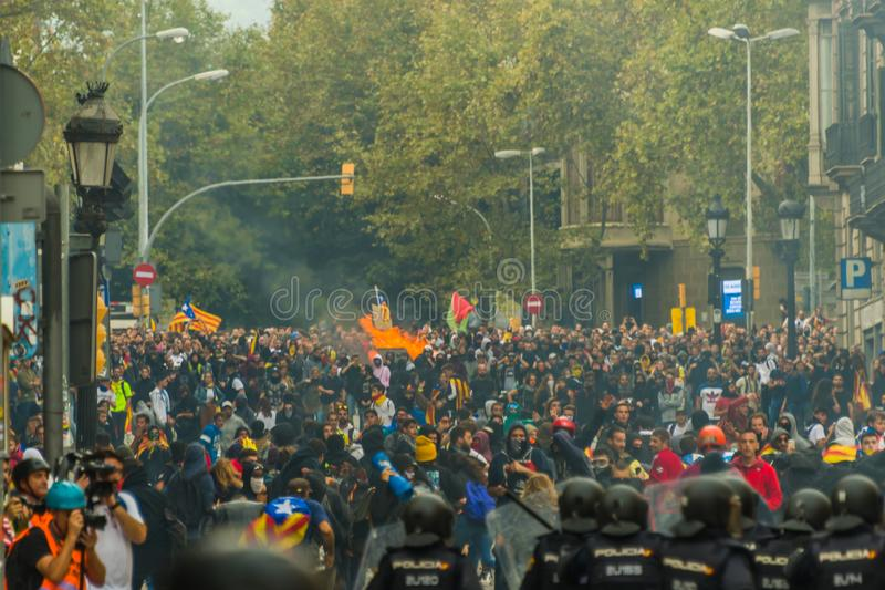 Barcelona, Catalonia/Spain; October 18 2019: violent protest against the police stock photos