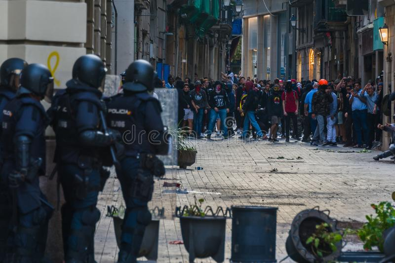 Barcelona, Catalonia/Spain; October 18 2019: violent protest against the police royalty free stock image