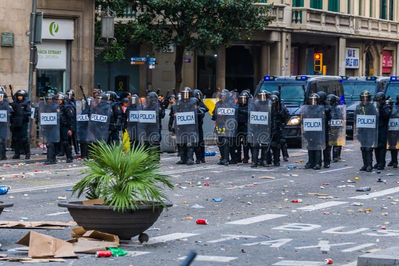 Barcelona, Catalonia/Spain; October 18 2019: violent protest against the police stock photography