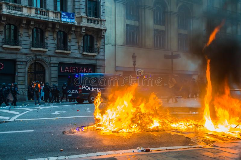Barcelona, Catalonia/Spain; October 18 2019: violent protest against the police royalty free stock images