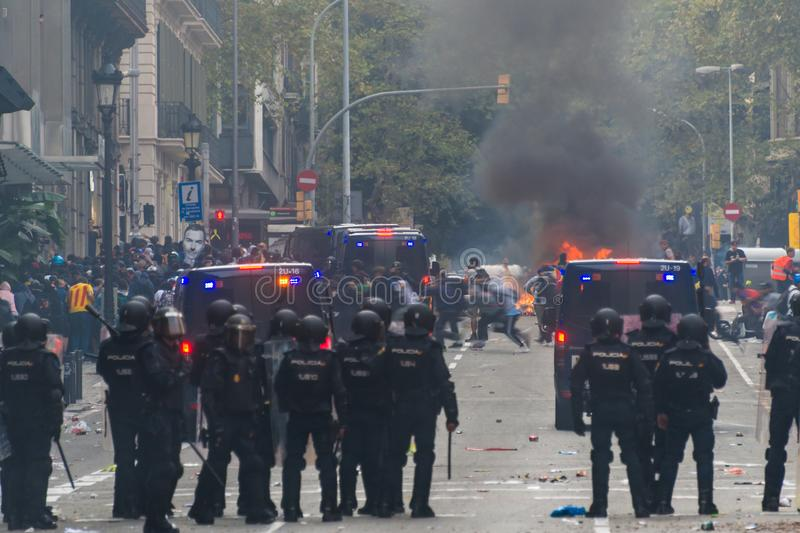 Barcelona, Catalonia/Spain; October 18 2019: violent protest against the police royalty free stock photography