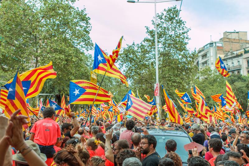 Barcelona, Catalonia, Spain, September 11, 2018: Catalan people celebrating La Diada Nacional de Catalunya 11th September and. Supporting the independence of royalty free stock photo