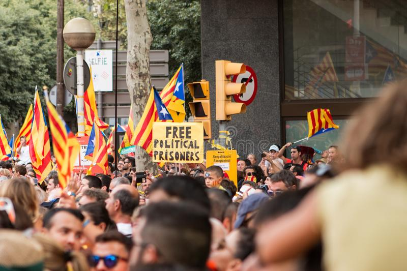 Barcelona, Catalonia, Spain, September 11, 2018: Catalan people celebrating La Diada Nacional de Catalunya 11th September and. Supporting the independence of stock images