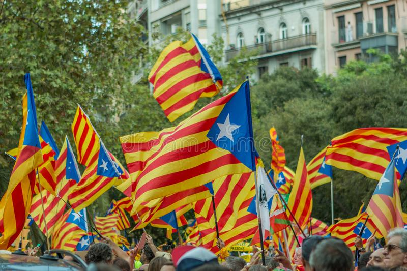 Barcelona, Catalonia, Spain, September 11, 2018: Catalan people celebrating La Diada Nacional de Catalunya 11th September and. Supporting the independence of stock photo