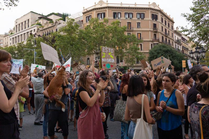 Barcelona, Catalonia, Spain, September 27, 2019, mobilization for the climatic emergency. Student strike with the aim of demanding. Governments from all over stock image